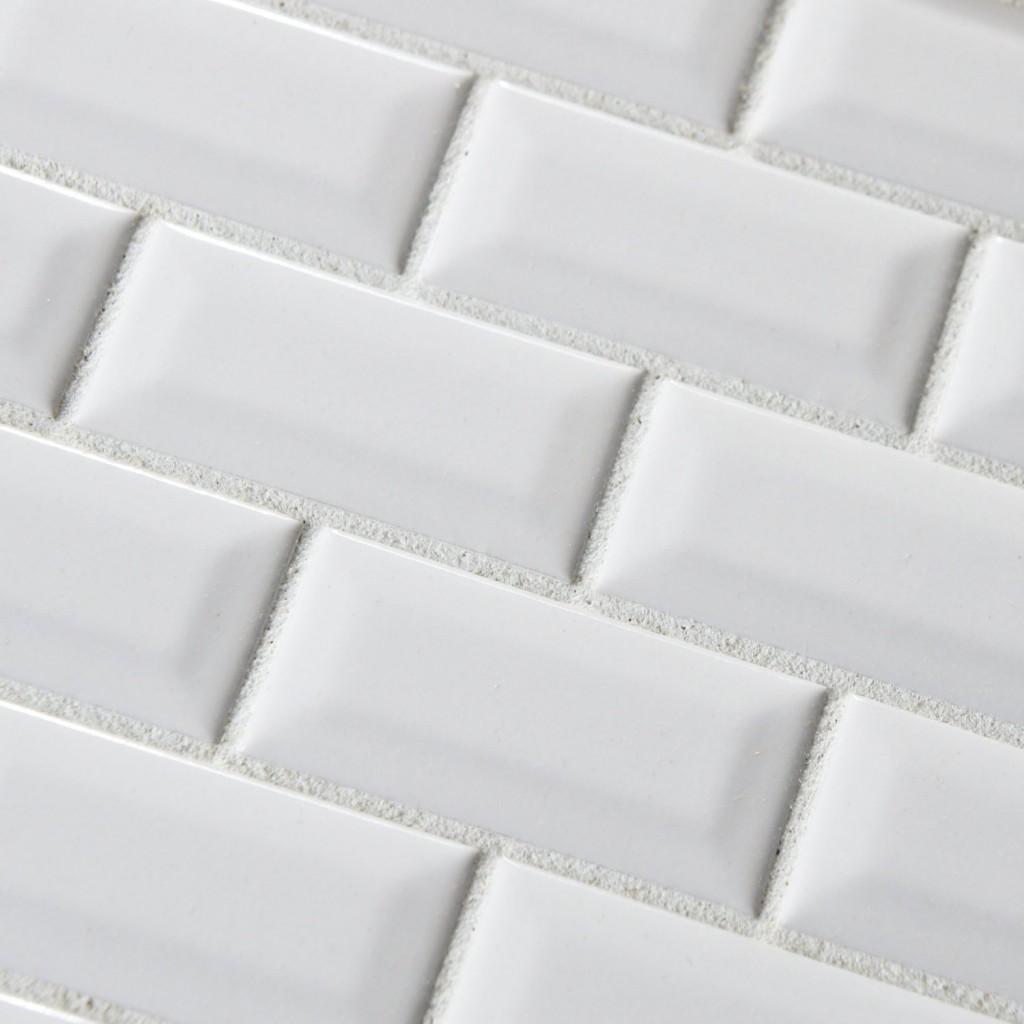 Buy Pure White Bevel Subway 3x6 Glossy Ceramic