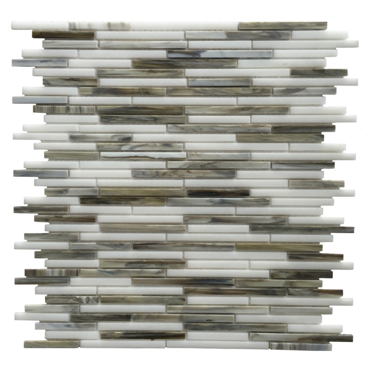 Silver Weave 12x12 Interlocking Glass Blend Mosaic