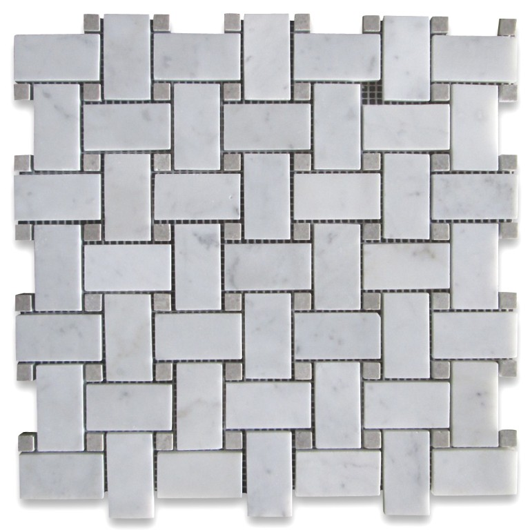 Carrara White With Gray Inserts 12x12 Basketweave