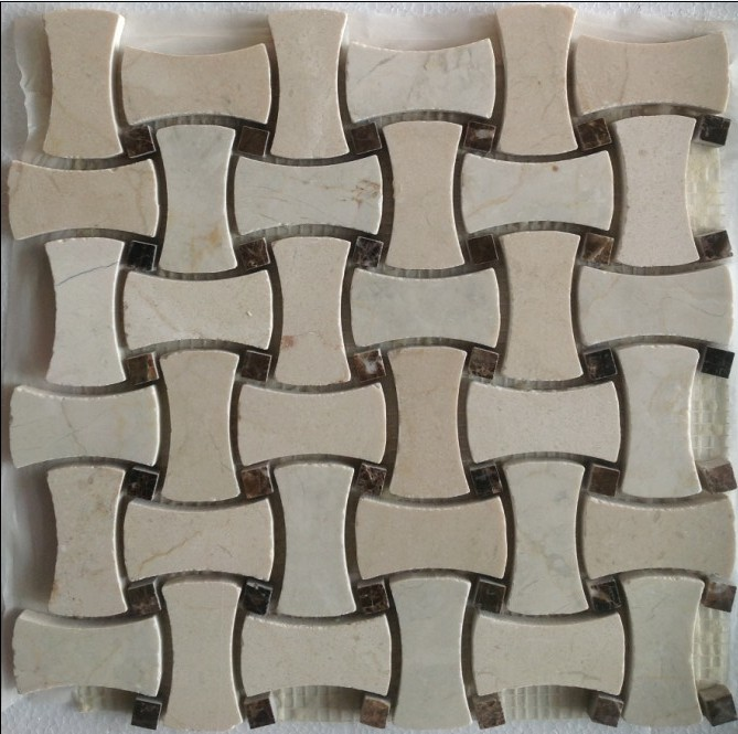 Crema Marfil Bone Basketweave 12x12 Polished Mosaic
