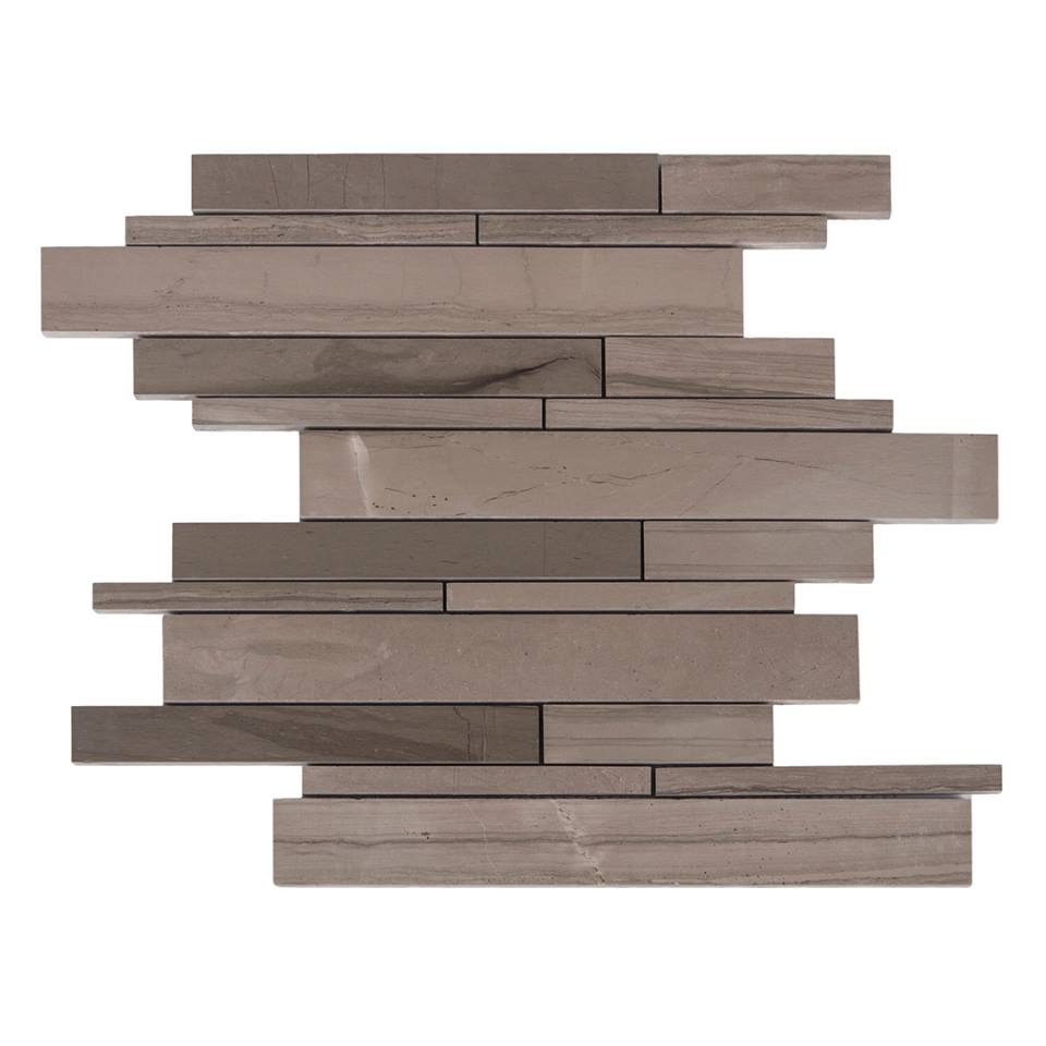Athens Grey 12x12 Interlocking Strip Polished Mosaic