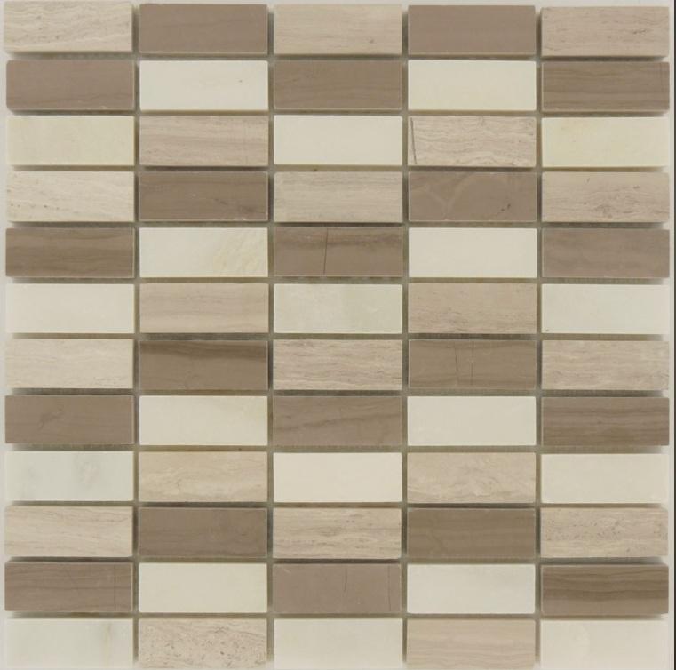 Wooden Brick 1x2 Marble Mosaic