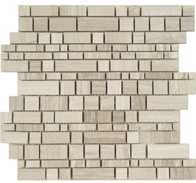White Oak Checker 12x12 Interlocking Mosaic