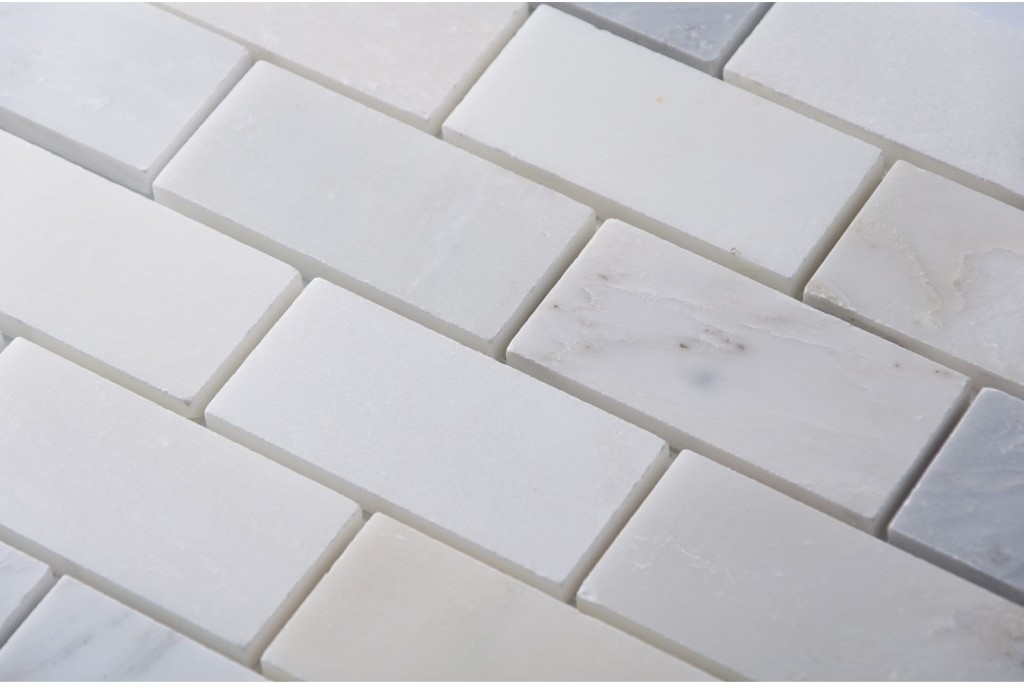 Carrara White 2x4 Brick Honed