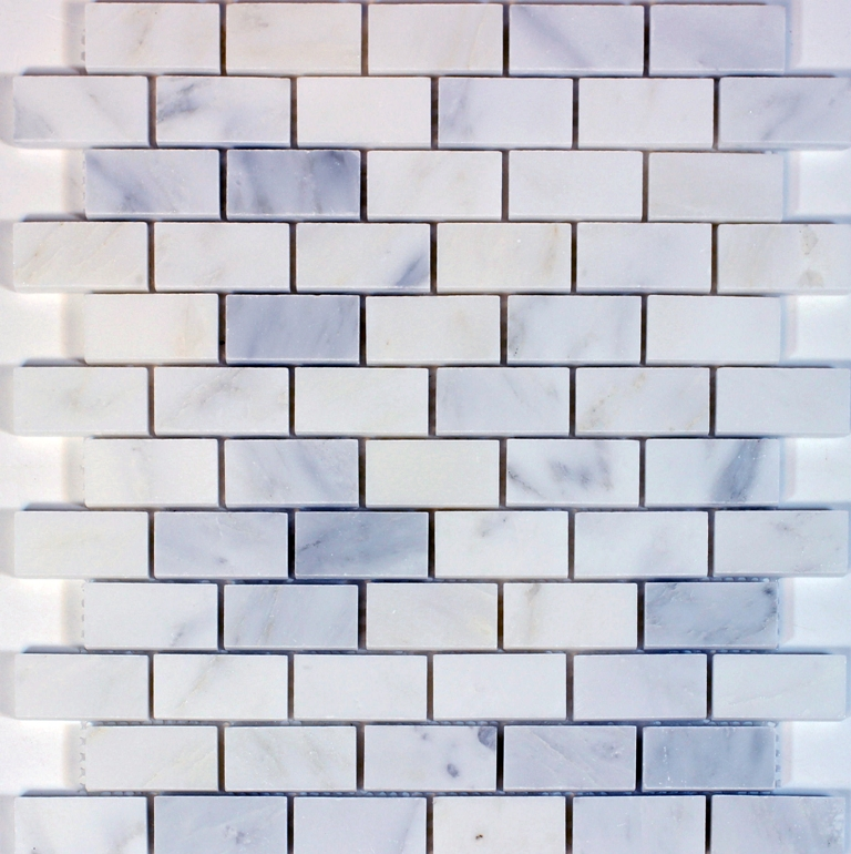 Statuary White 1x2 Polished Brick Pattern