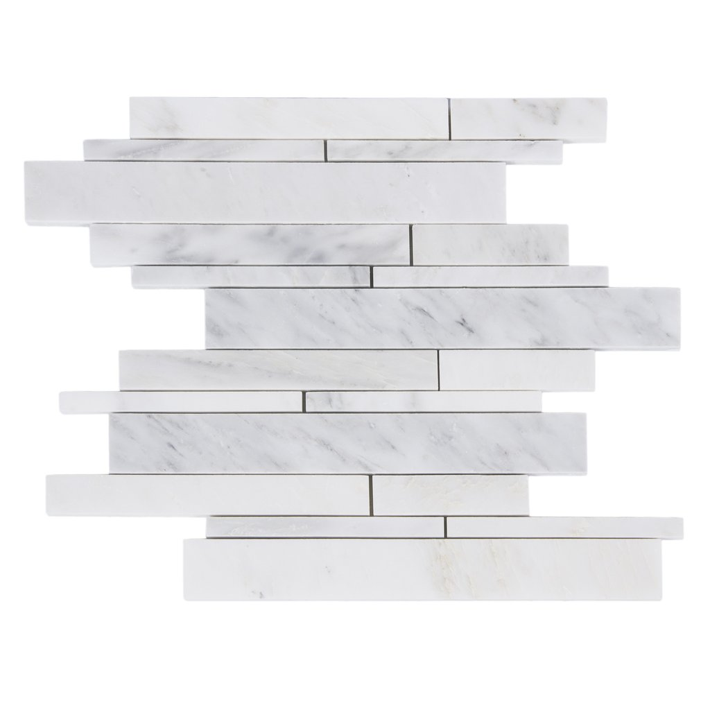 Carrara White 12x12 Interlocking Mosaic