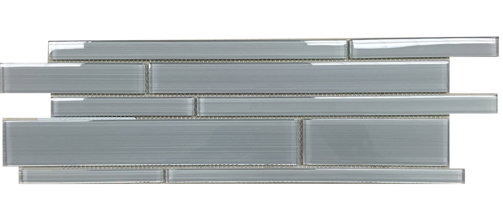 Ice Denim 6x18 Interlocking Glass Mosaic