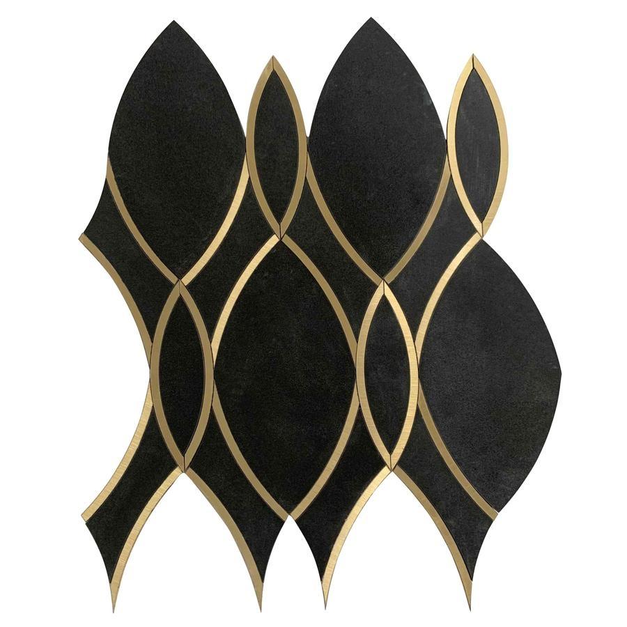 Gold Ribbons Geometric Waterjet Porcelain Mosaic