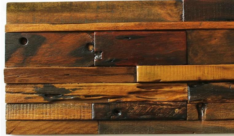 Heritage 3D 12x24 Antique Wood Panel Mosaic