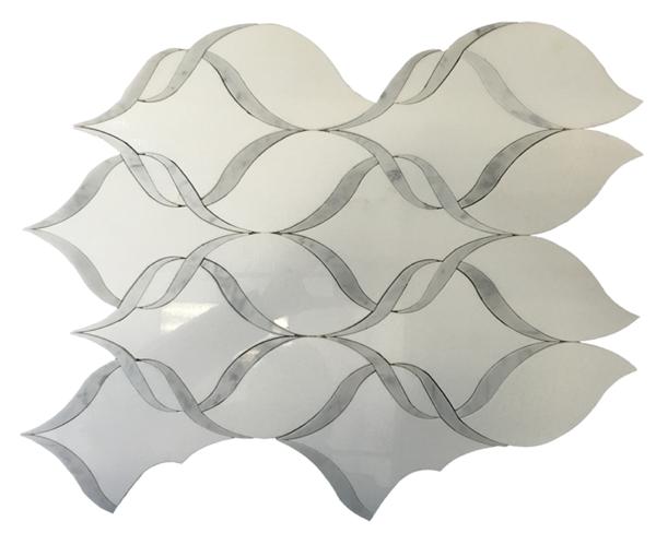 Ribbon Dance Blanc 14x17 Waterjet Marble Mosaic