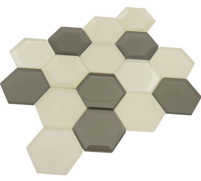 FREE SHIPPING - Mixed 3D Hexagon Glass Mosaic