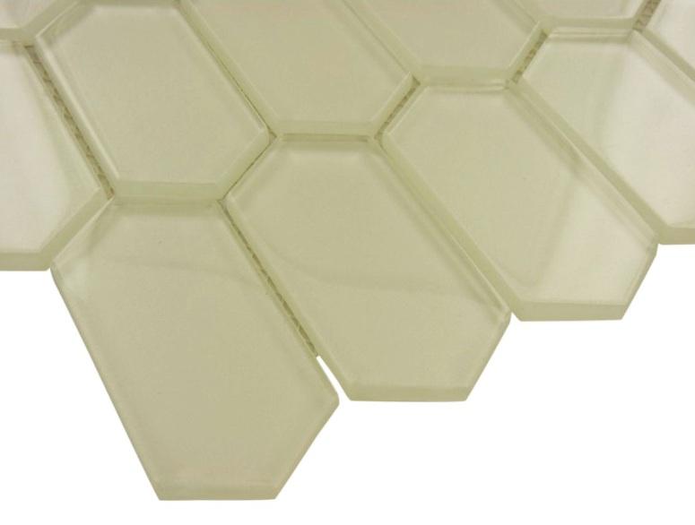 Elongated Pickett Hexagon Metalic Glass Mosaic