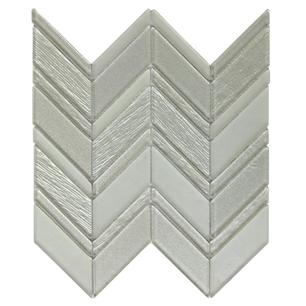 Metallic Silver 12X12 Chevron Glass Mosaic