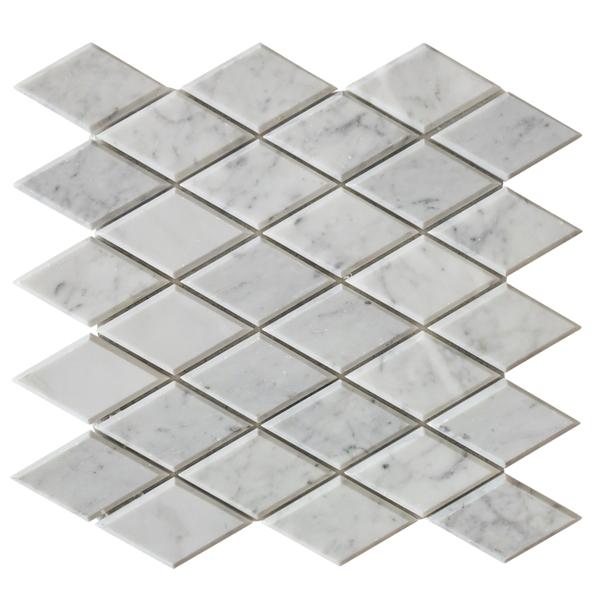 Carrara White Beveled Rhomboid