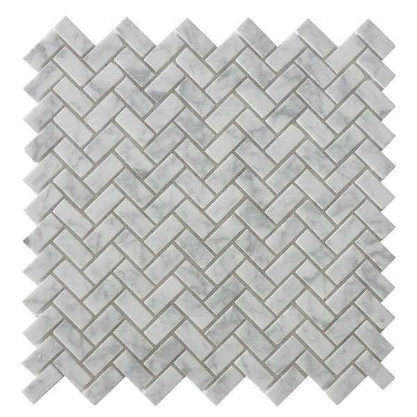 Carrara White Mini Herringbone 12x12 Marble Mosaic