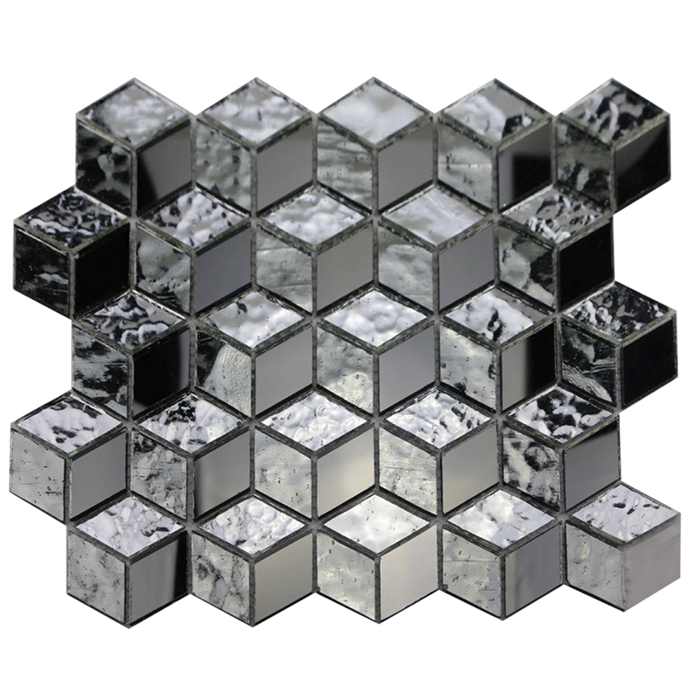 Silver Cube 3D Glass 12x12 Diamond Mosaic