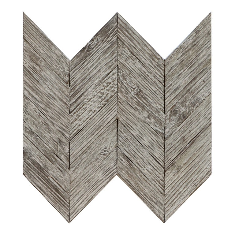 Antique Anchor Teak Chevron Wood Panel Mosaic