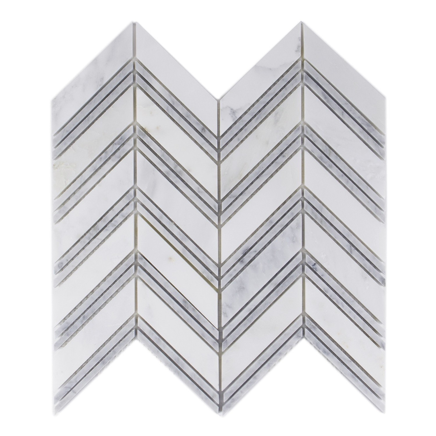 Carrara White 1x4 Chevron Polished