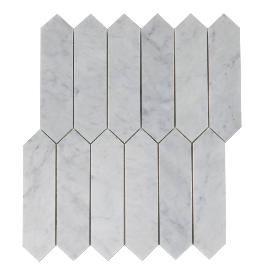 Carrara White 2X8 Elongated Hexagon Mosaic