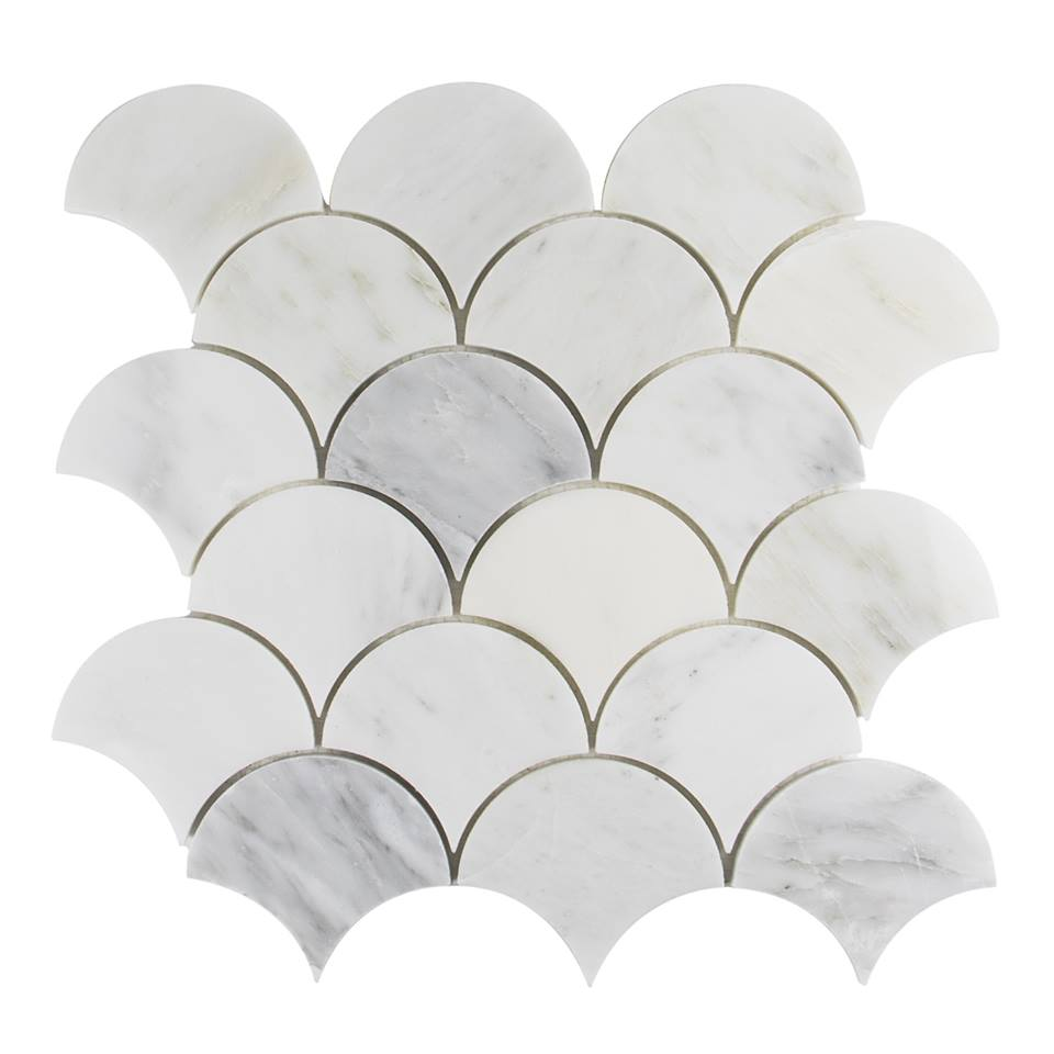 Carrara White Fish Scale Interlocking Mosaic