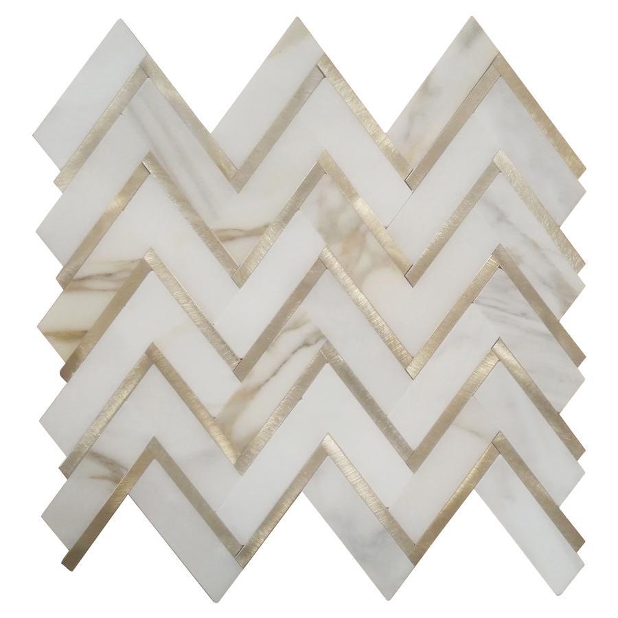 Calacatta Zigzag Metallic Herringbone Waterjet Mosaic