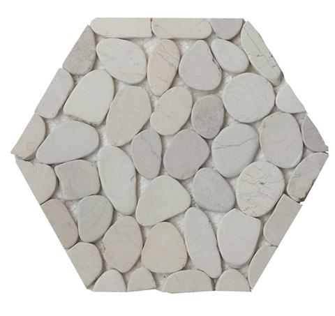 Flat White Honeycomb Halo Pebble Tile