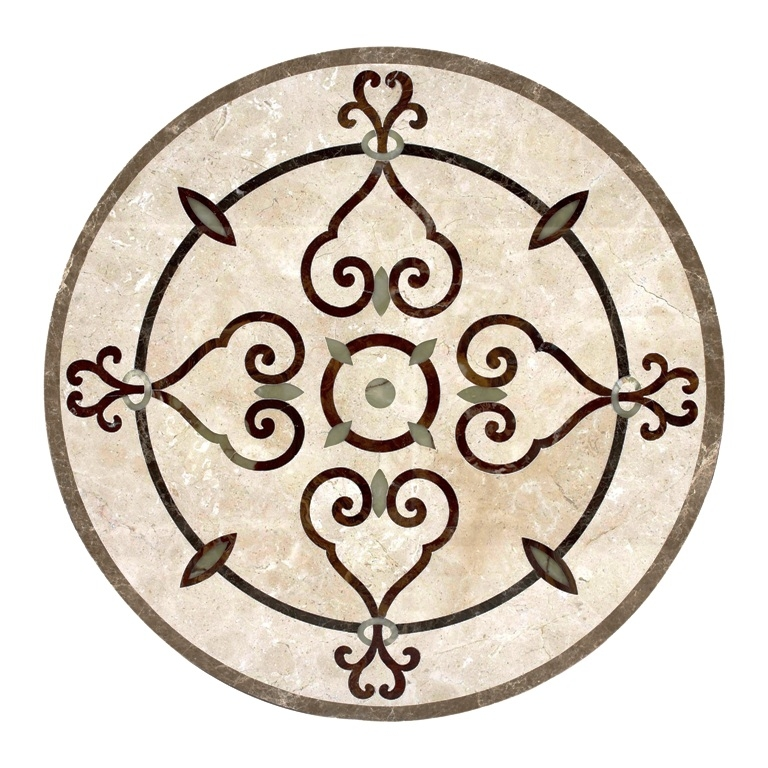 tile compass medallion in natural stone medallions