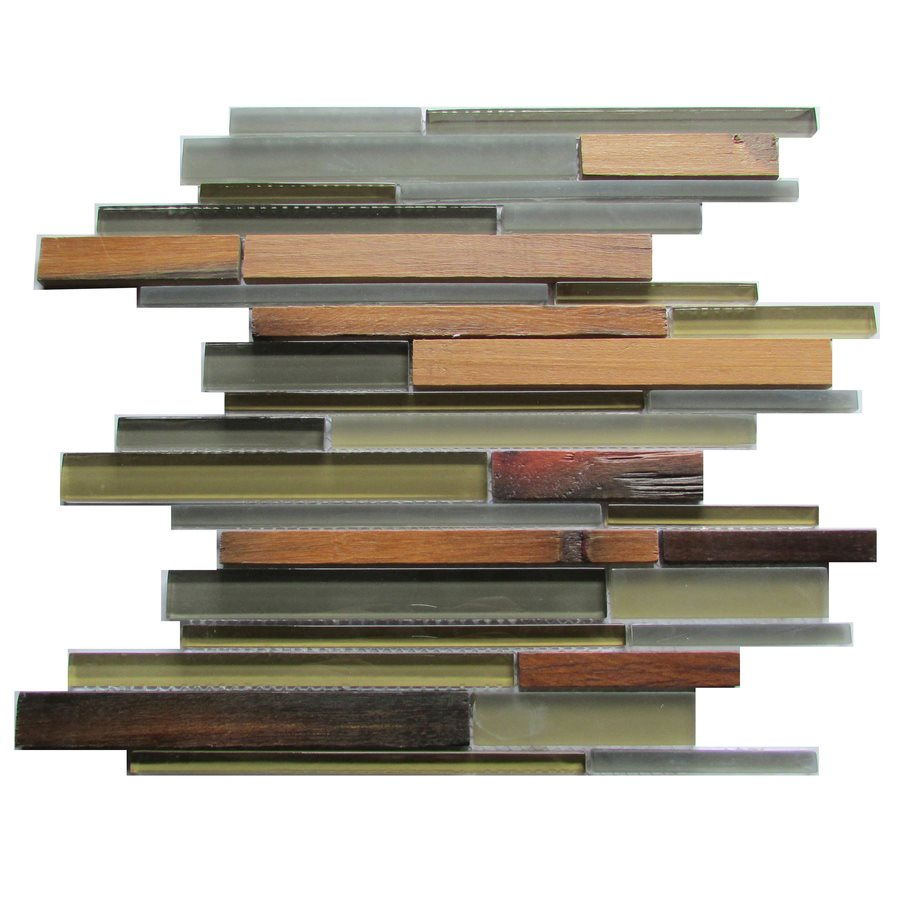 FREE SHIPPING - Ambergris Reed 12x12 Glass & Wood Mosaic