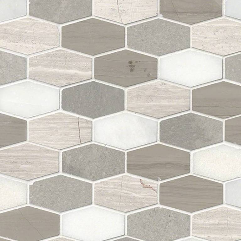 Bellagio Blend Elongated Hexagon Honed
