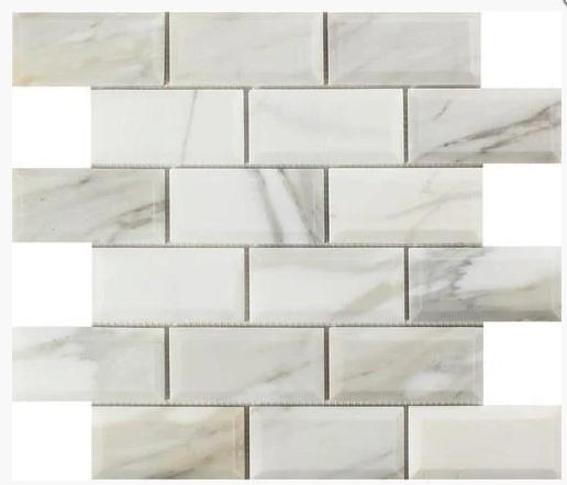 Calacatta Gold 2X4 Beveled Brick Polished