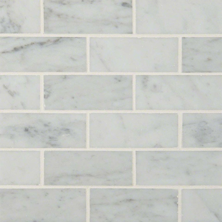 Carrara White 2x4 Brick Polished Mosaic
