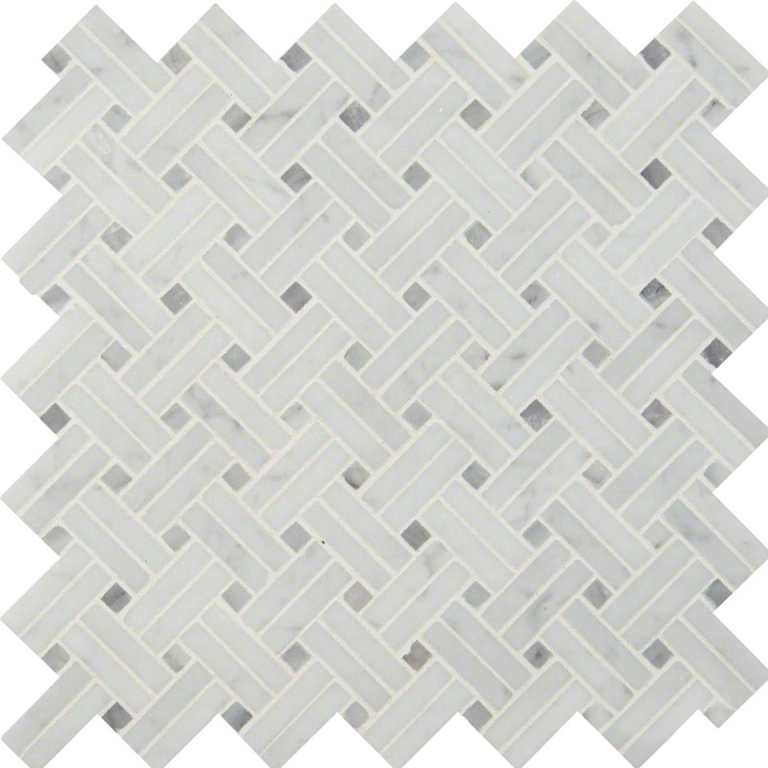 Carrara White Linear 12x12 Basketweave Mosaic
