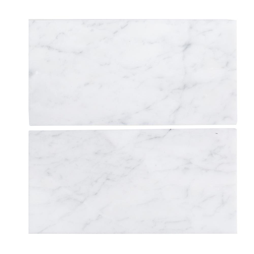 Carrara White 6x12 Honed Marble