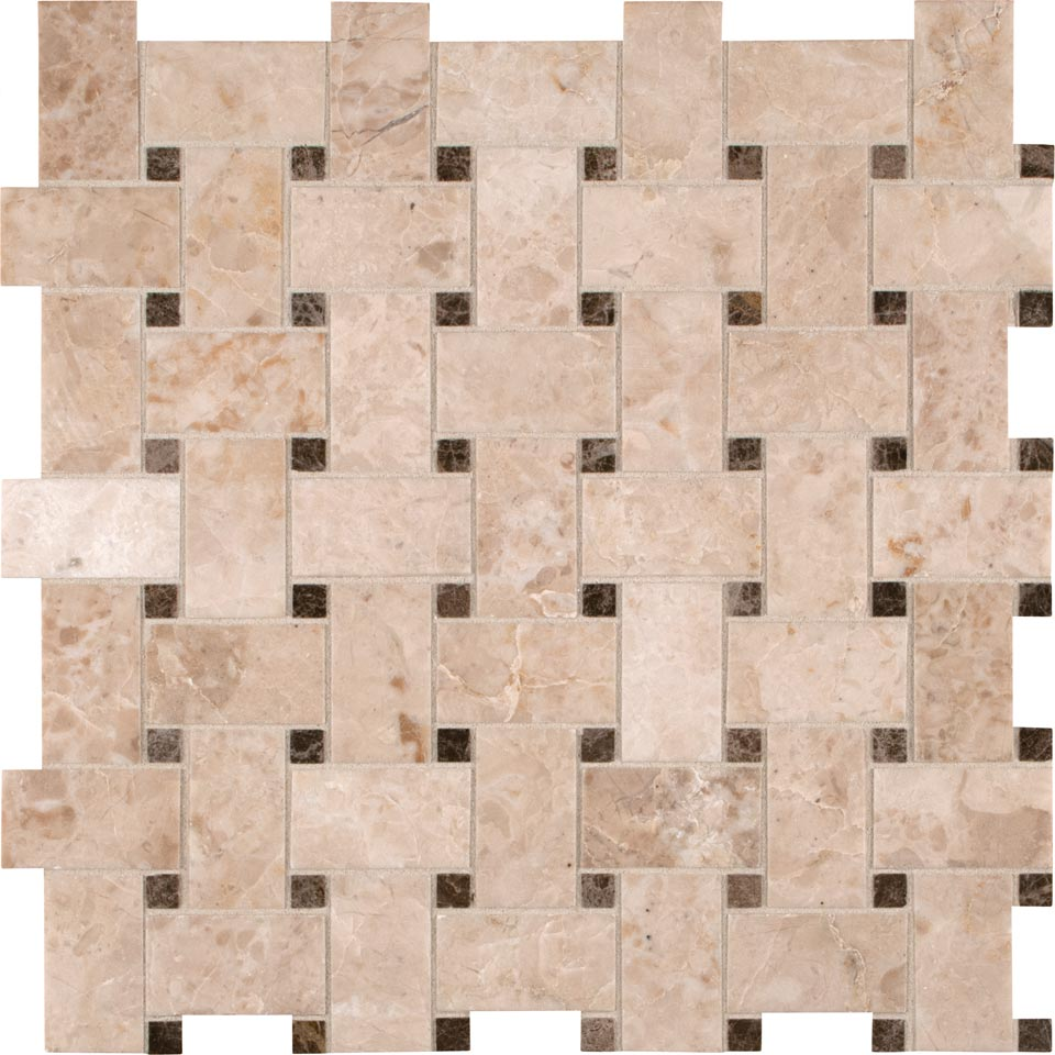 Crema Cappuccino 12X12 Basketweave Polished