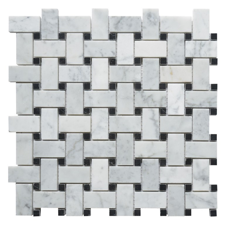 Carrara White Basketweave Polished