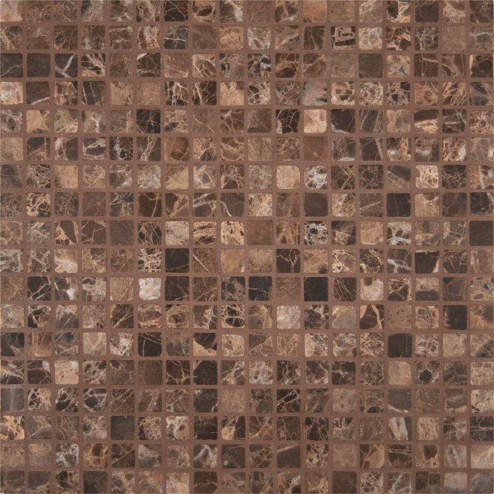 Emperador Dark 5/8 Tumbled Mosaic