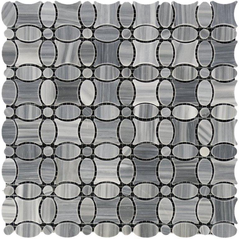 Bardiglio Scuro Flower Mosaic Tile