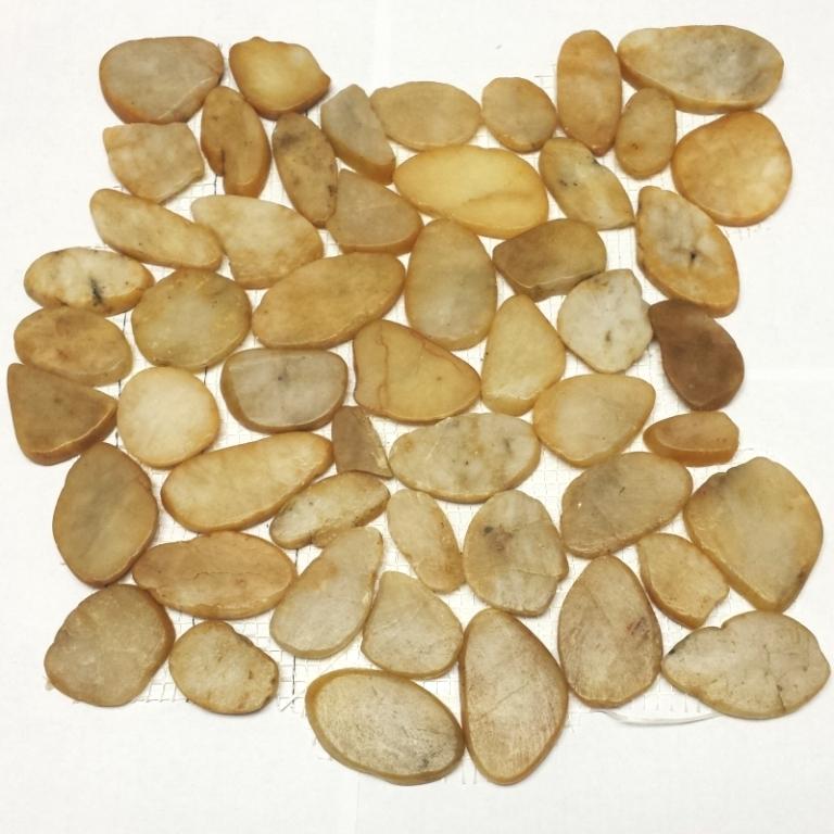 FREE SHIPPING - Autumn Gold Flat Interlocking 12x12 Polished Pebbles