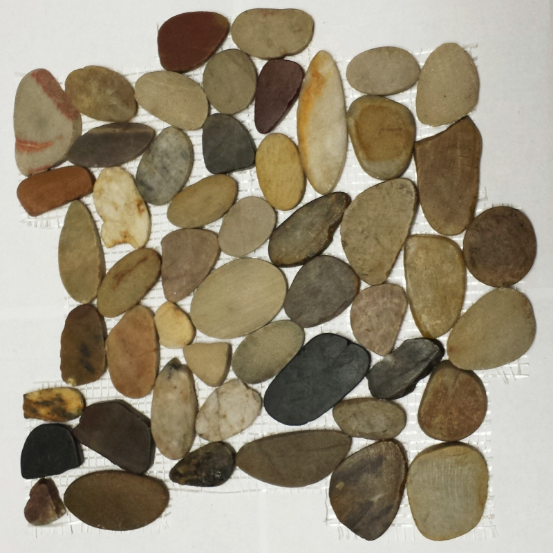Rain Forest Flat Interlocking 12x12 Polished Pebbles