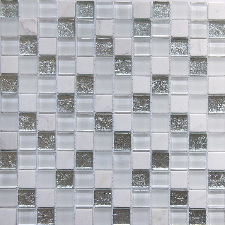 Carrara Opal 1x1 Glass/Stone Blend Mosaic