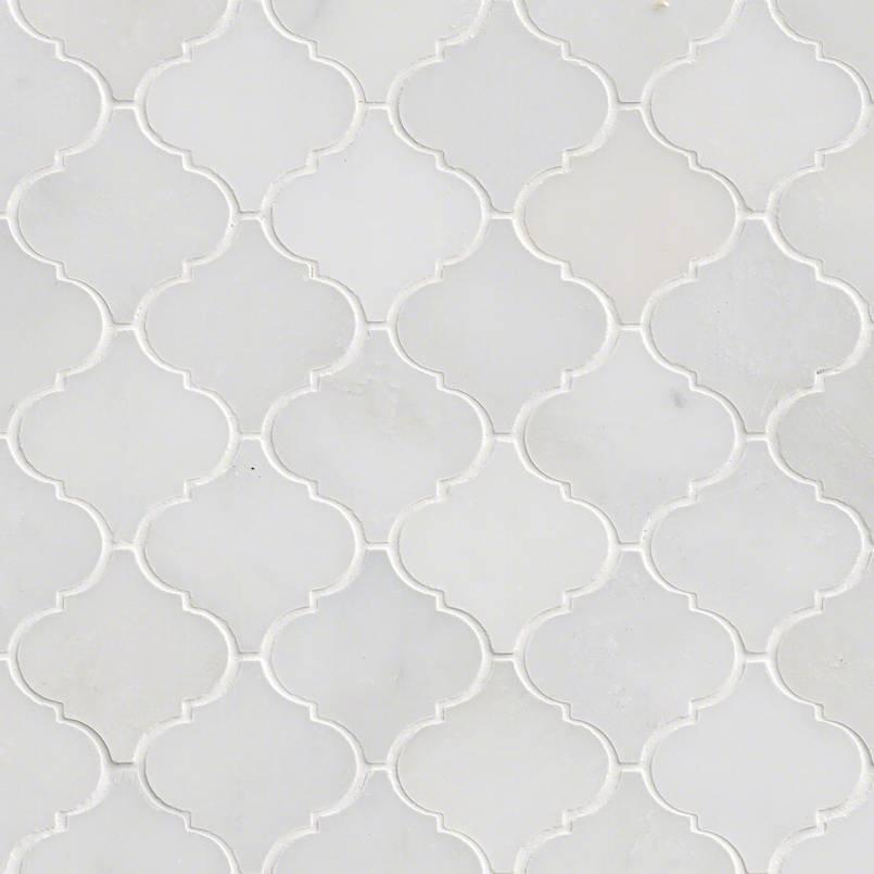 Greecian White 12x12 Arabesque Interlocking Polished