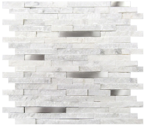 FREE SHIPPING - White Fusion 12x12 Interlocking Mosaic