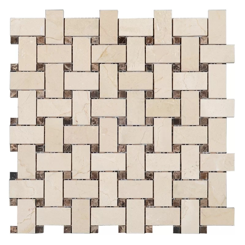 FREE-SHIPPING - Crema Marfil Basketweave Polished