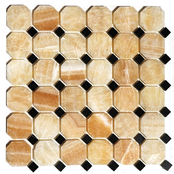 FREE SHIPPING - Honey Onyx Octagon Mosaic