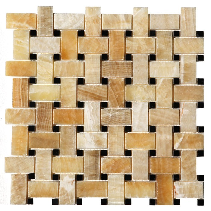 Honey Onyx Black Marble Basket Weave