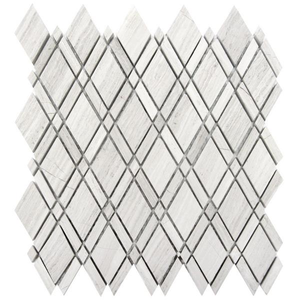 FREE SHIPPING - White Oak Lattice Interlocking Mosaic