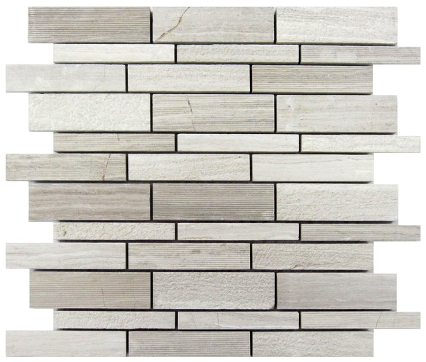 FREE SHIPPING - White Oak Hammered Interlocking Brick Mosaic