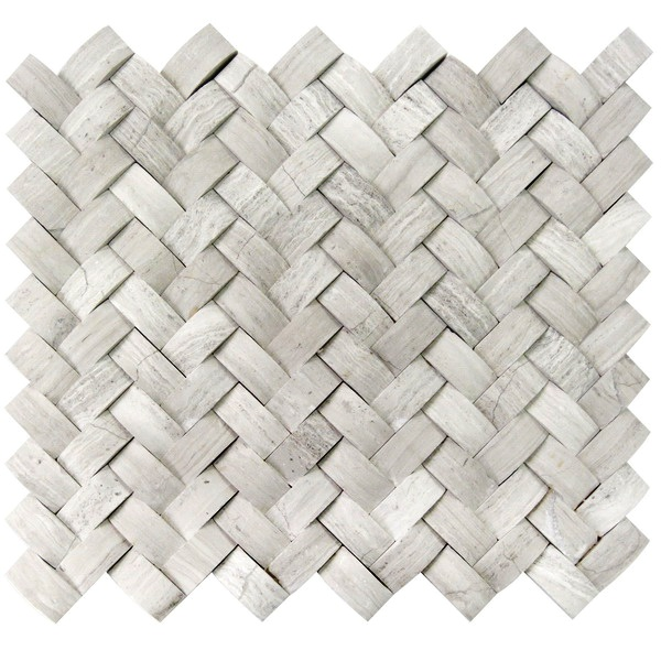 Mystic Cloud Arched 3D Herringbone Mosaic