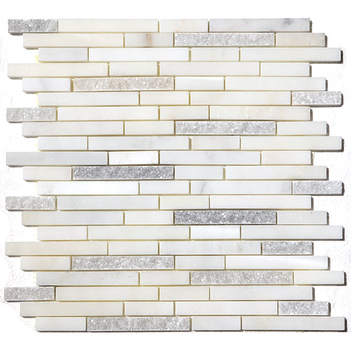 FREE SHIPPING - Carrara White Duo Interlocking Mosaic