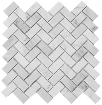 Carrara White 1x2 Herringbone Polished